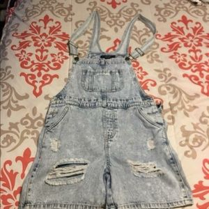 Forever 21 distressed overalls